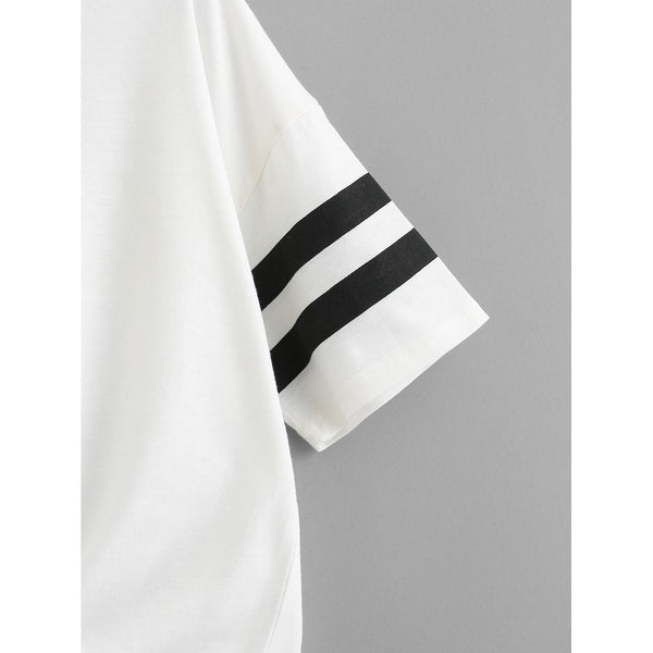 Cut Out Neck Varsity Striped Knot Front Tee
