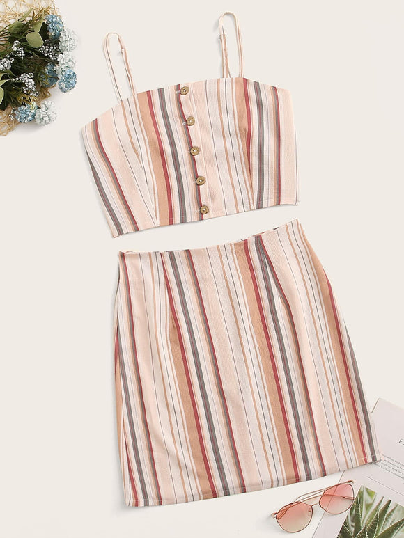 Button Through Striped Cami Top With Skirt