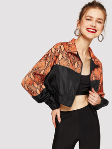 Zip Up Cut-and-sew Snakeskin Print Jacket