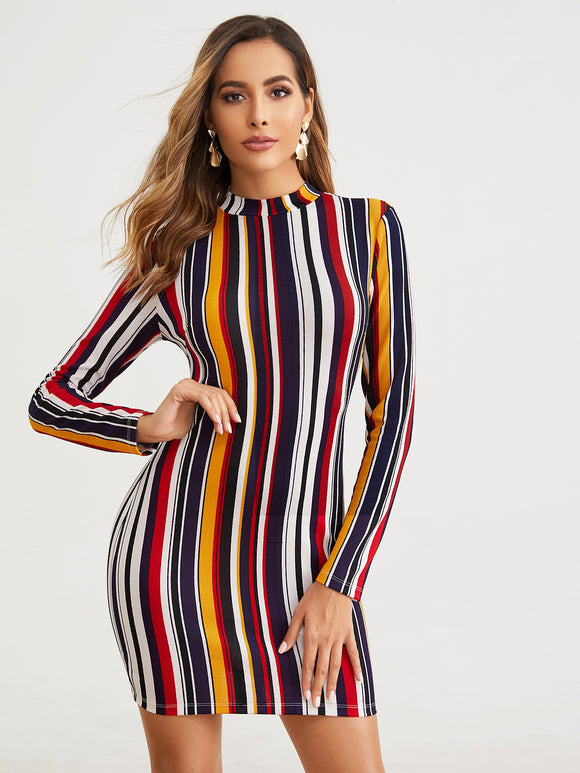 Mock-neck Striped Textured Bodycon Dress