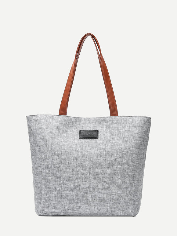 Contrast PU Handle Tote Bag