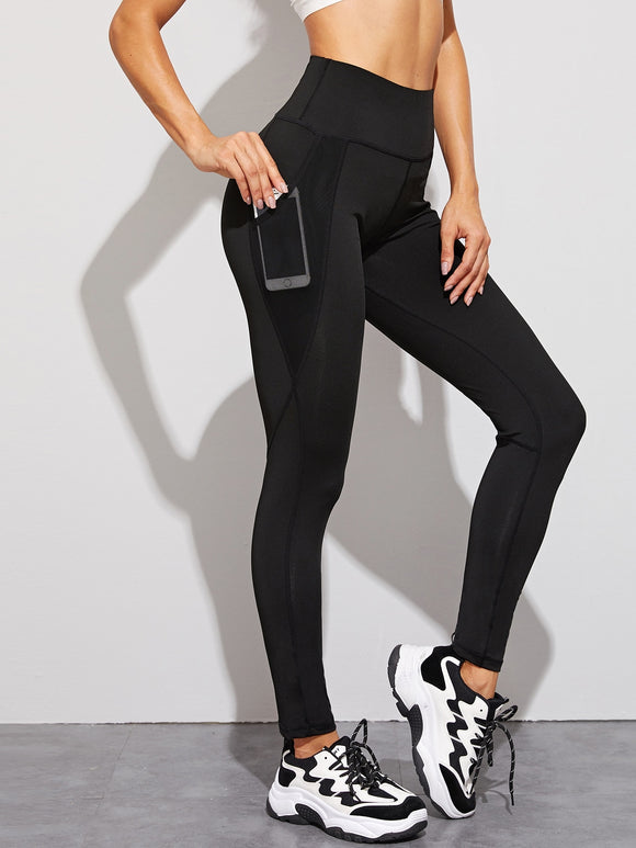 Contrast Mesh Pocket High Waist Leggings