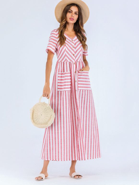 Striped Button Front Pocket Dress