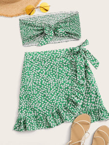 Ditsy Floral Print Tie Front Shirred Tube Top With Wrap Skirt