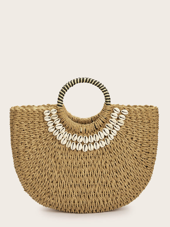 Random Shell Decor Straw Plaited Tote Bag