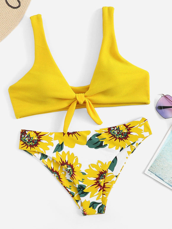 Knot Front Top With Floral Pattern Bikini