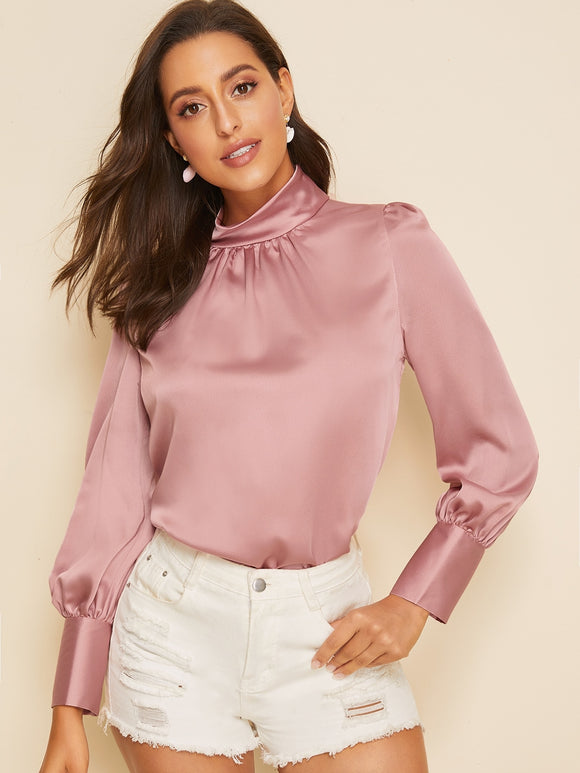 Stand Collar Button Keyhole Satin Blouse