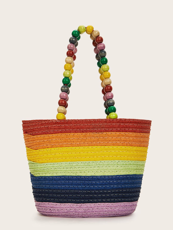 Color-block Beaded Strap Tote Bag