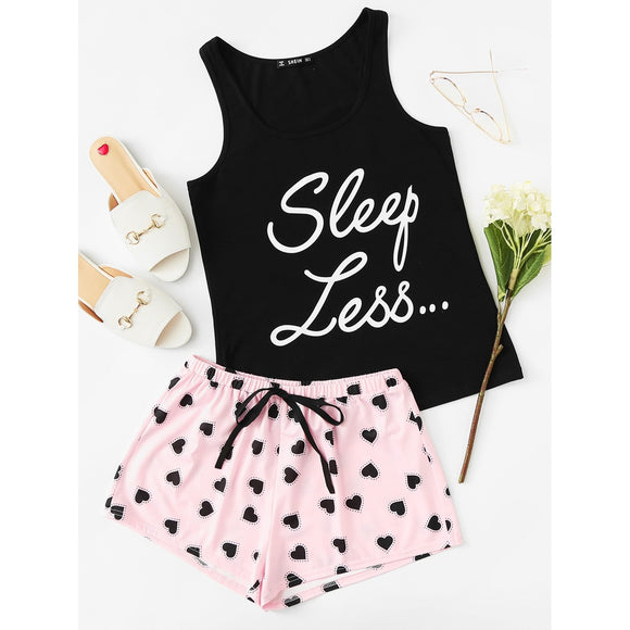 Letter Print Top & Drawstring Waist Shorts PJ Set