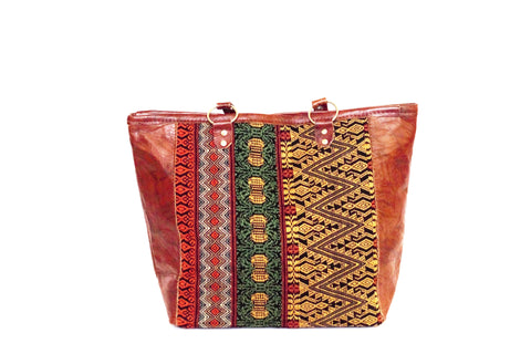 Tote Huipil Leather Handbag