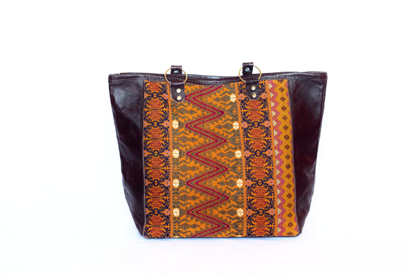 Tote Huipil Leather Handbang