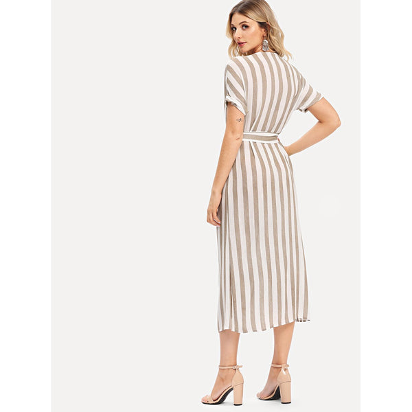 Double Breasted Belted Striped Dress