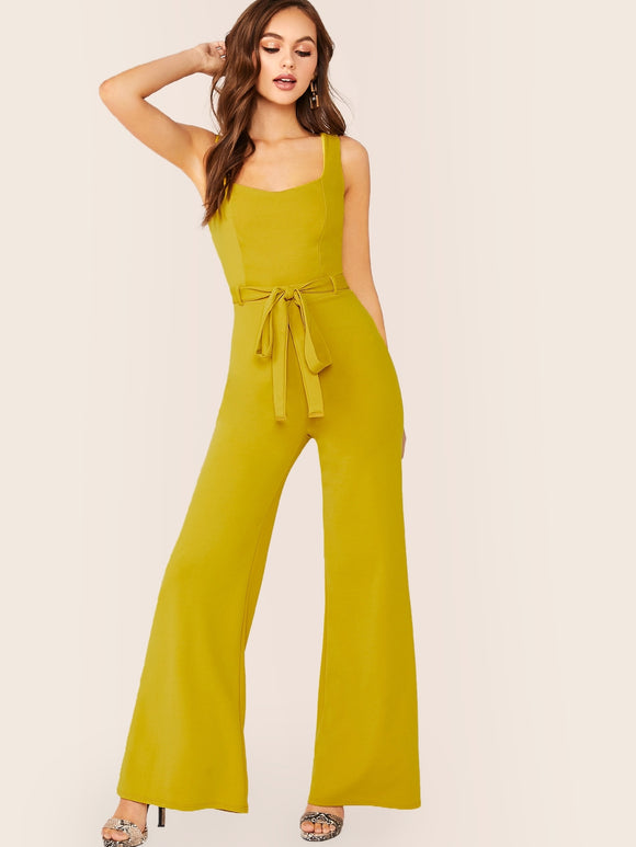 Wide Leg Waist Tie Sleeveless Jumpsuit