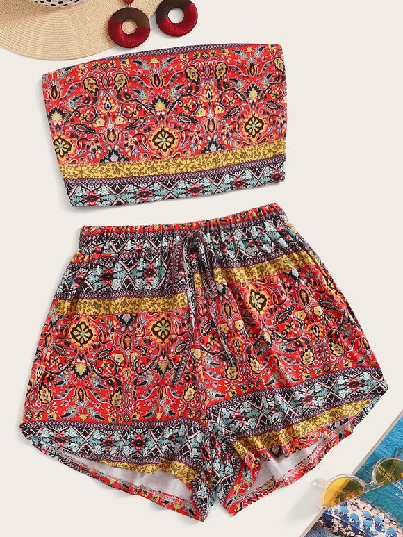 Aztec Print Bandeau Top With Drawstring Waist Shorts