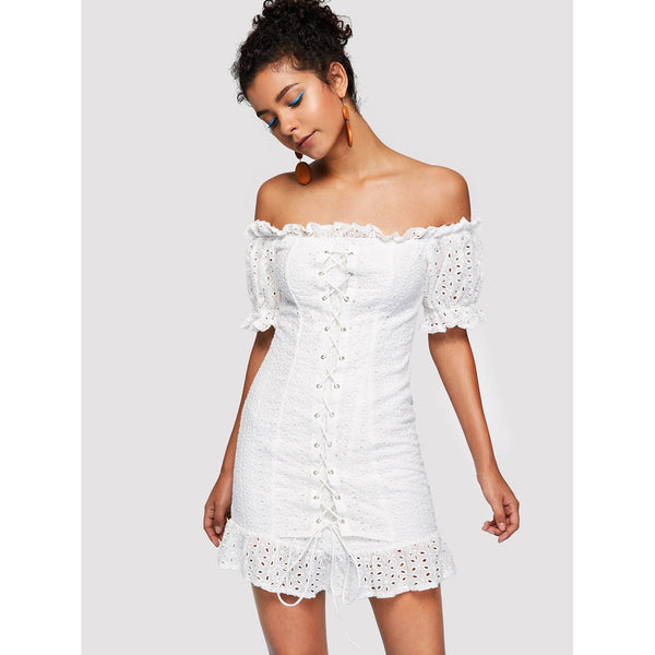 Grommet Lace Up Front Eyelet Embroidered Dress