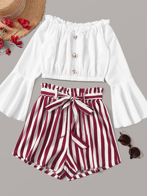 Button Front Off Shoulder Top With Striped Belted Paperbag Shorts