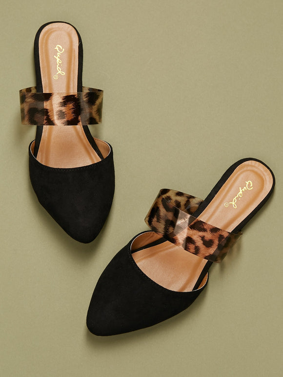 Leopard PVC Detail Pointy Toe Flat Mules