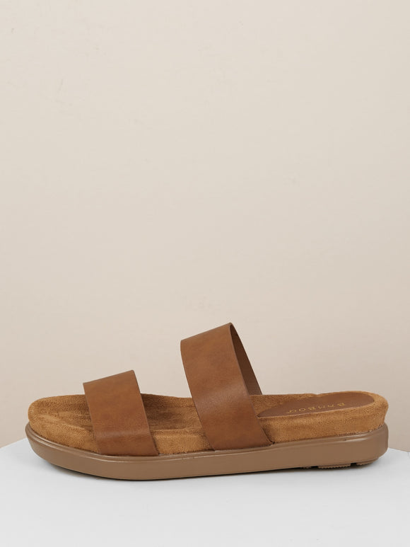 Twin Straps Low Platform Slide Sandals