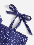 Polka Dot Tie Shoulder Top With High Waist Bikini