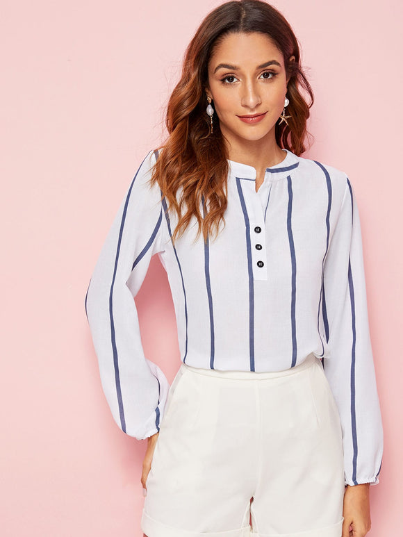 Half Button Notched Neck Striped Blouse