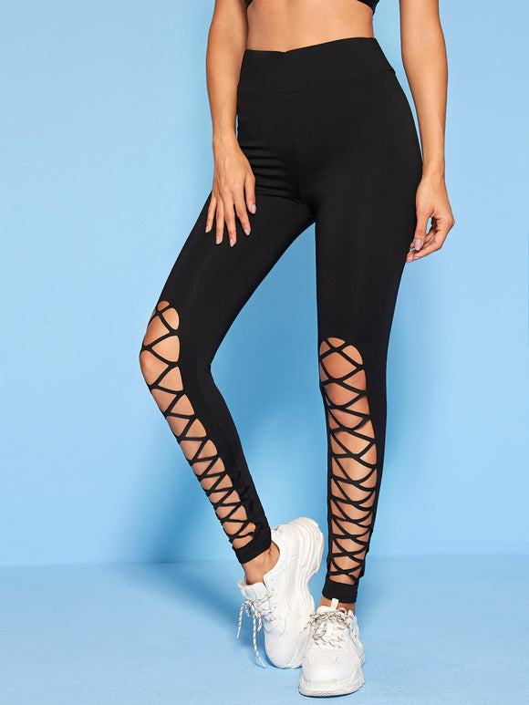 Solid Cut-out Detail Leggings