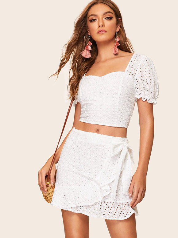 Embroidered Eyelet Wrap Tie Waist Skirt