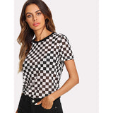 Checkered Print Semi Sheer Tee