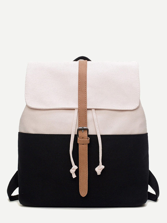 Buckle Strap Decor Flap Backpack