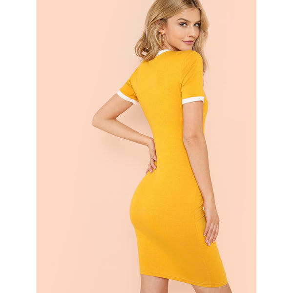 Contrast Tape Pencil Dress