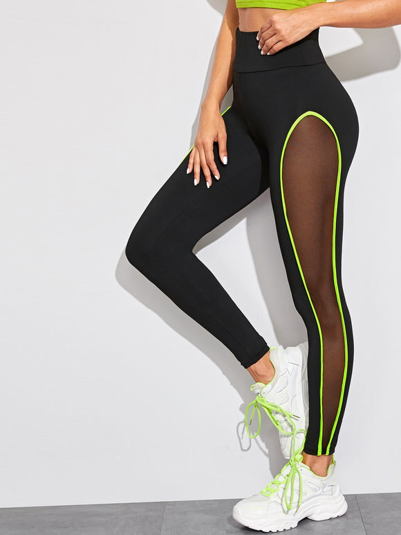 Neon Lime Contrast Binding Sheer Panel Leggings