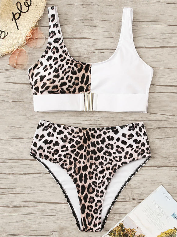 Leopard Buckle Front Top With High Waist Bikini