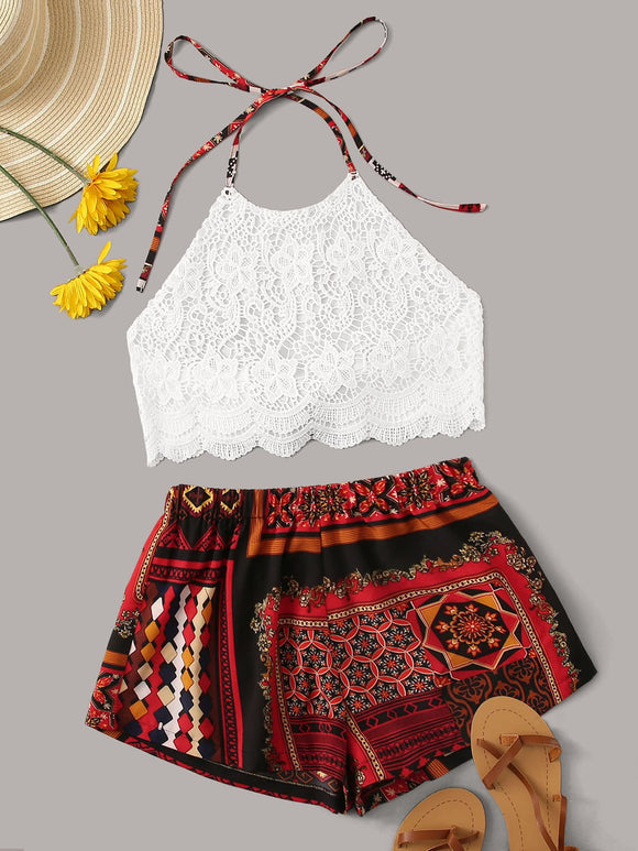 Tie Back Halter Lace Top With Scarf Print Shorts
