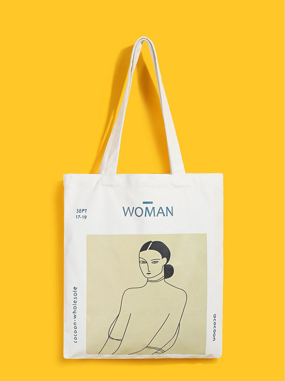 Figure Print Canvas Tote Bag