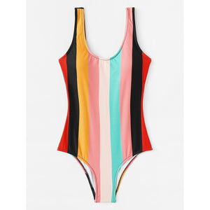 Colorblock Low Back Swimsuit