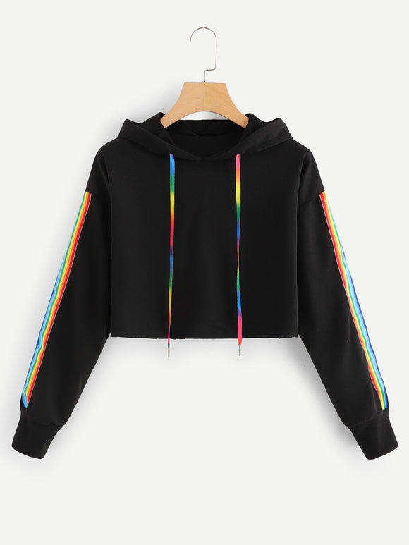 Tape Detail Hooded Sweatshirt