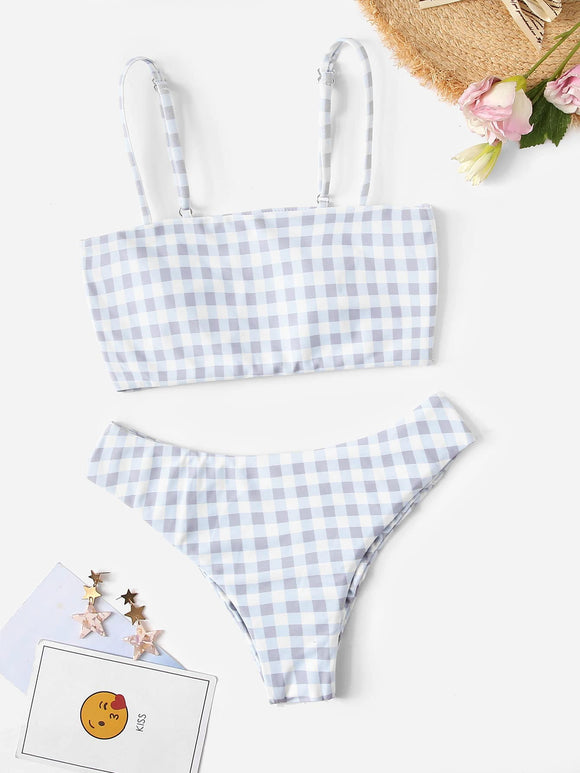 Gingham Spaghetti Strap Top With Ruched Bikini