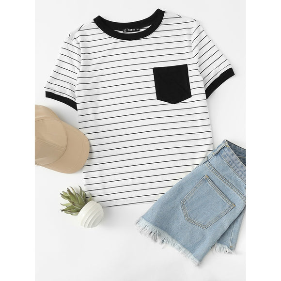 Patch Pocket Striped Ringer Tee