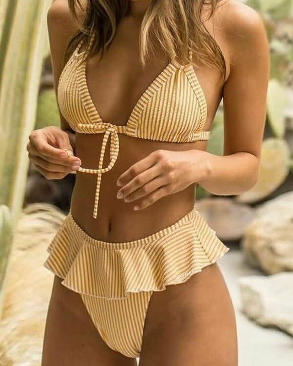 Striped Halter Top With Ruffle Trim Bikini