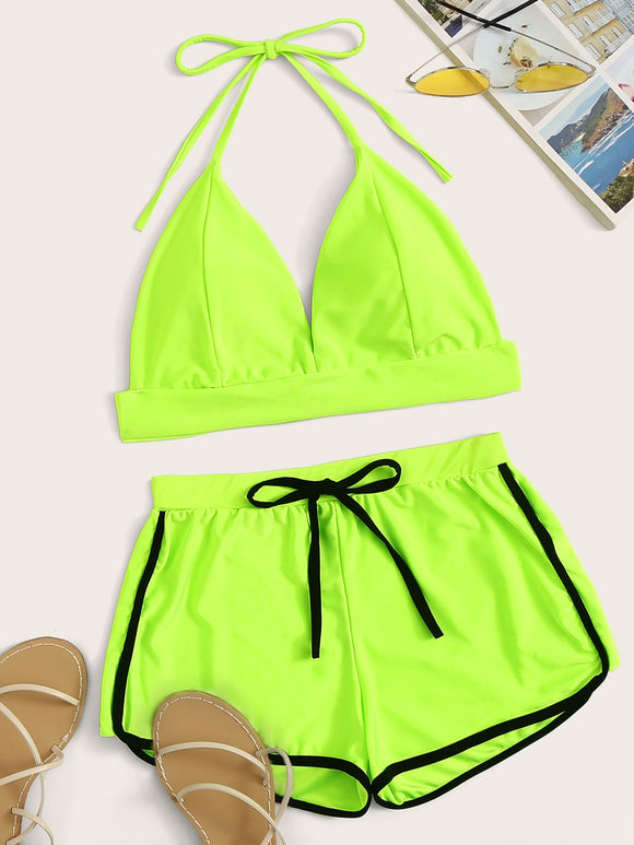 Neon Lime Halter Top With Shorts 2 Piece Swimsuit