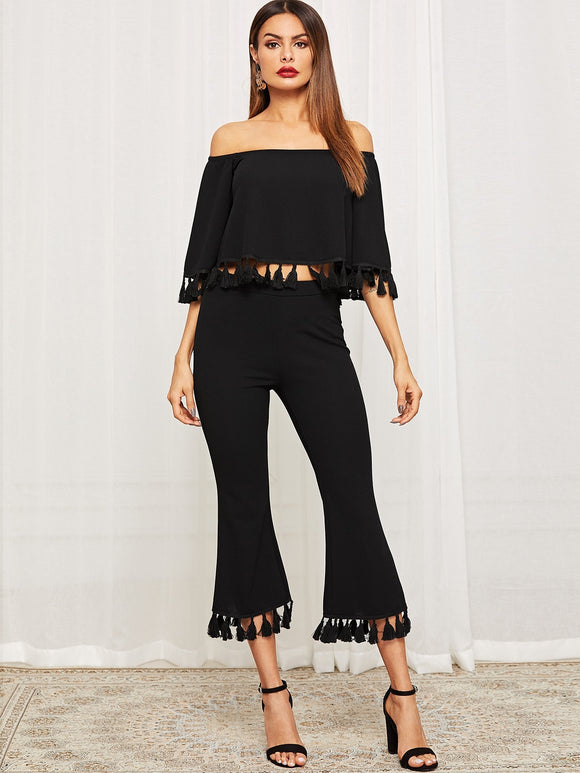 Bell Sleeve Tassel Hen Bardot Top & Flare Pants Set