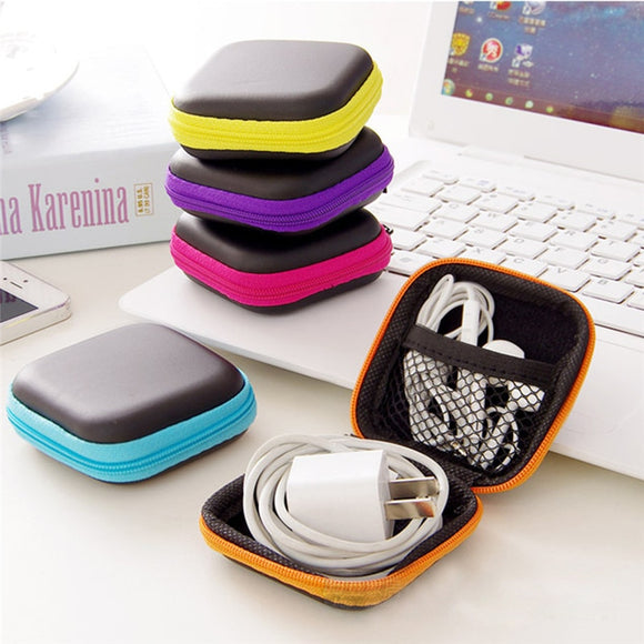 Earphone Wire Organizer Box Data Line Cables Storage Box Case Container Coin Headphone Protective Box Case Container