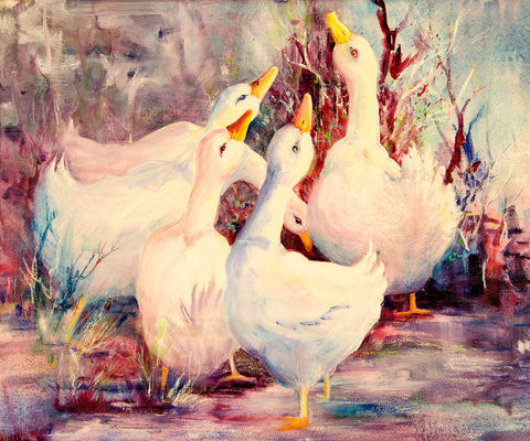 "Canvas Print - ""5 White Geese"" 16x20"