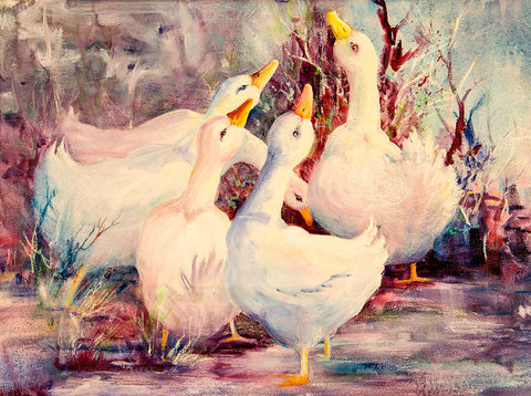 "Greeting Card - ""5 White Geese"""
