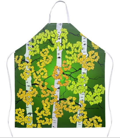 Apron - Fall Aspen Trees - Green