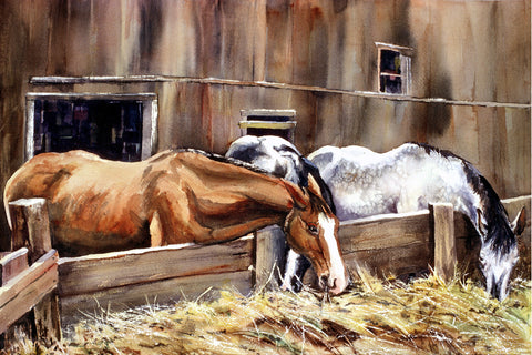 "Canvas Print - ""At The Feed Bank"" 12x18"