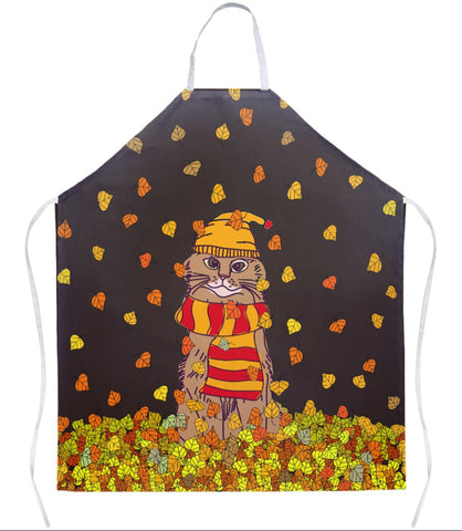 Apron - Cat In Leaves