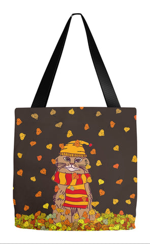Fall Tote - Cat In Leaves