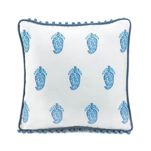 Square Tasseled Blue Paisley Pillow - Ink Print Art