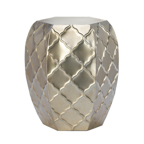 Quatrefoil Design Metal Stool - Ink Print Art