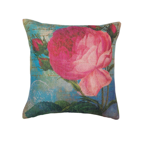 Pink Rose Print Pillow - Ink Print Art  - 1